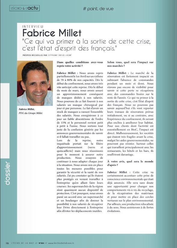 Interview Fabrice Millet - L'Echo de la Baie